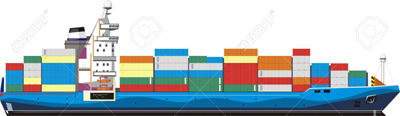 13763362 cargo ship with containers Stock Vector container